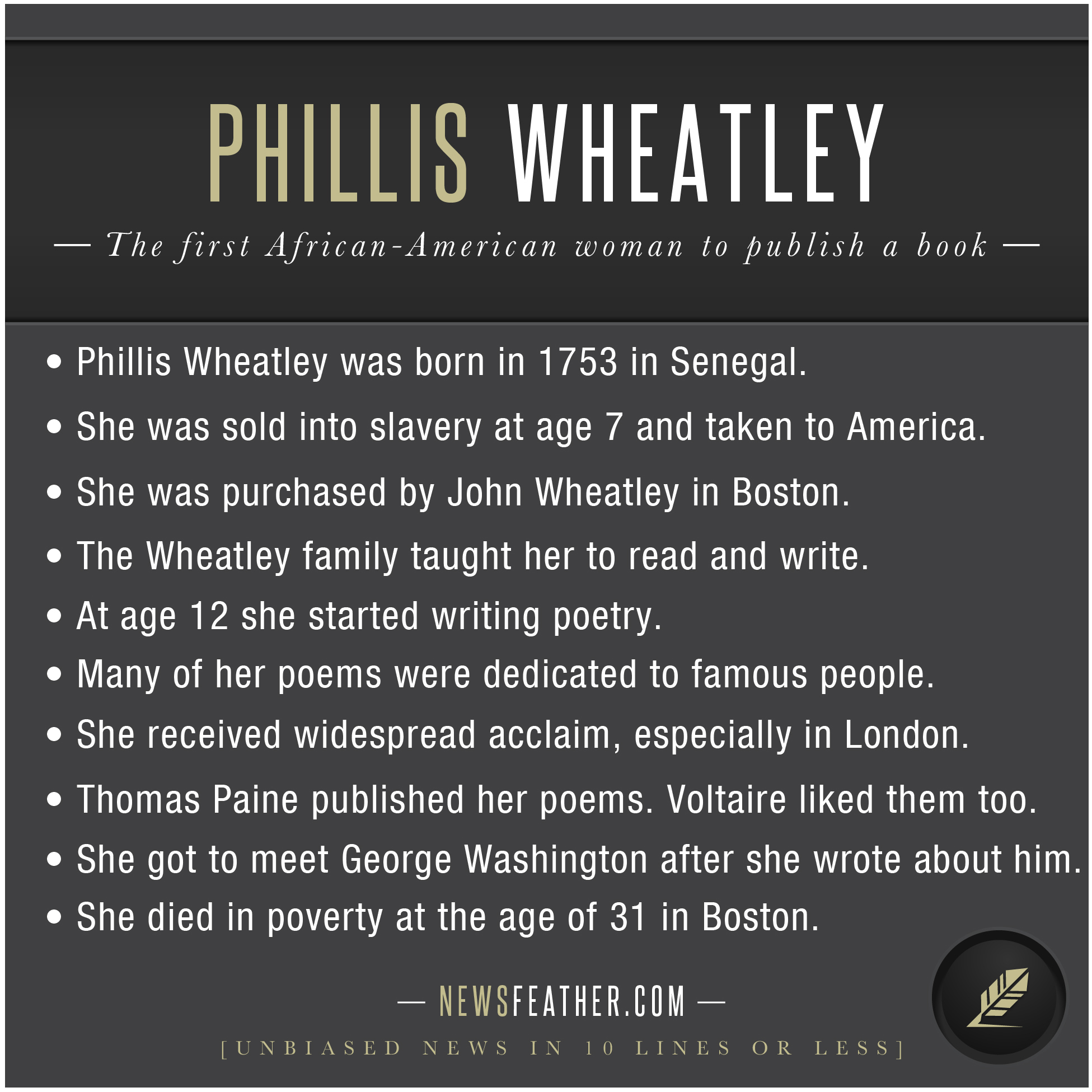 phillis wheatley life story