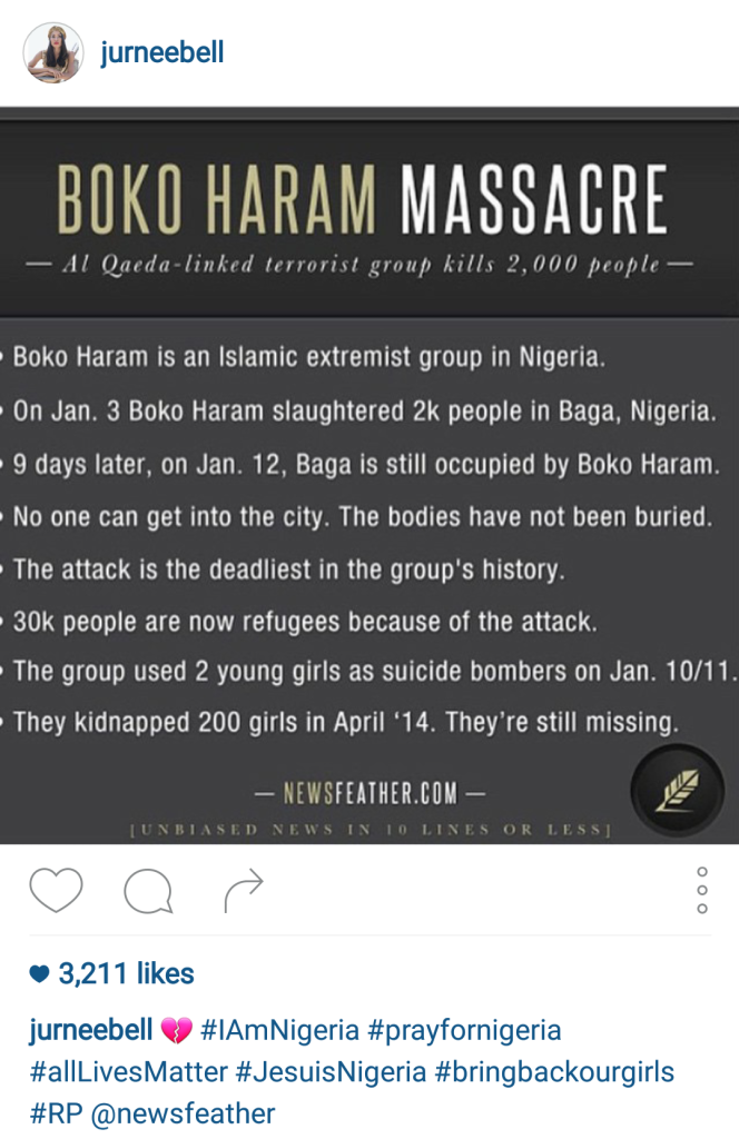 Jurnee Bell Reposts news story about boko haram