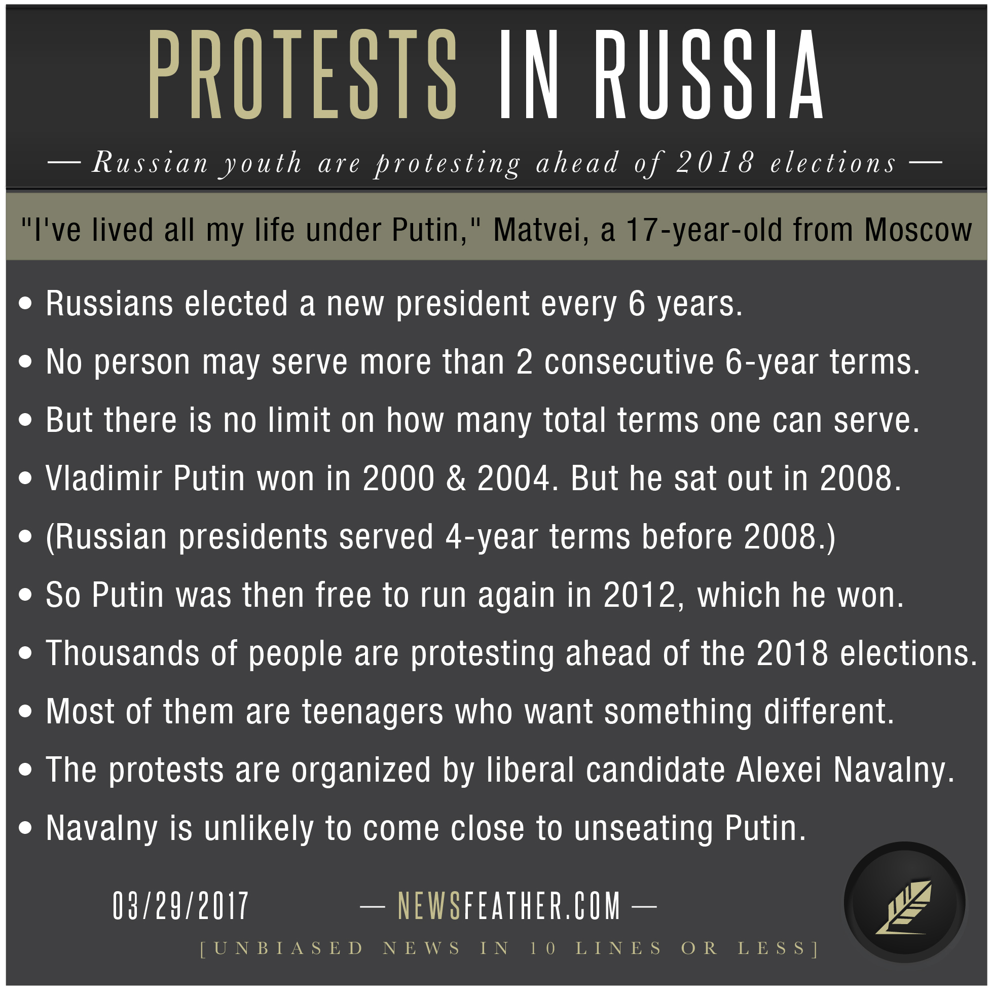 Russian anti-corruption political leaders are organizing massive protests in Moscow ahead of the 2018 presidential elections.