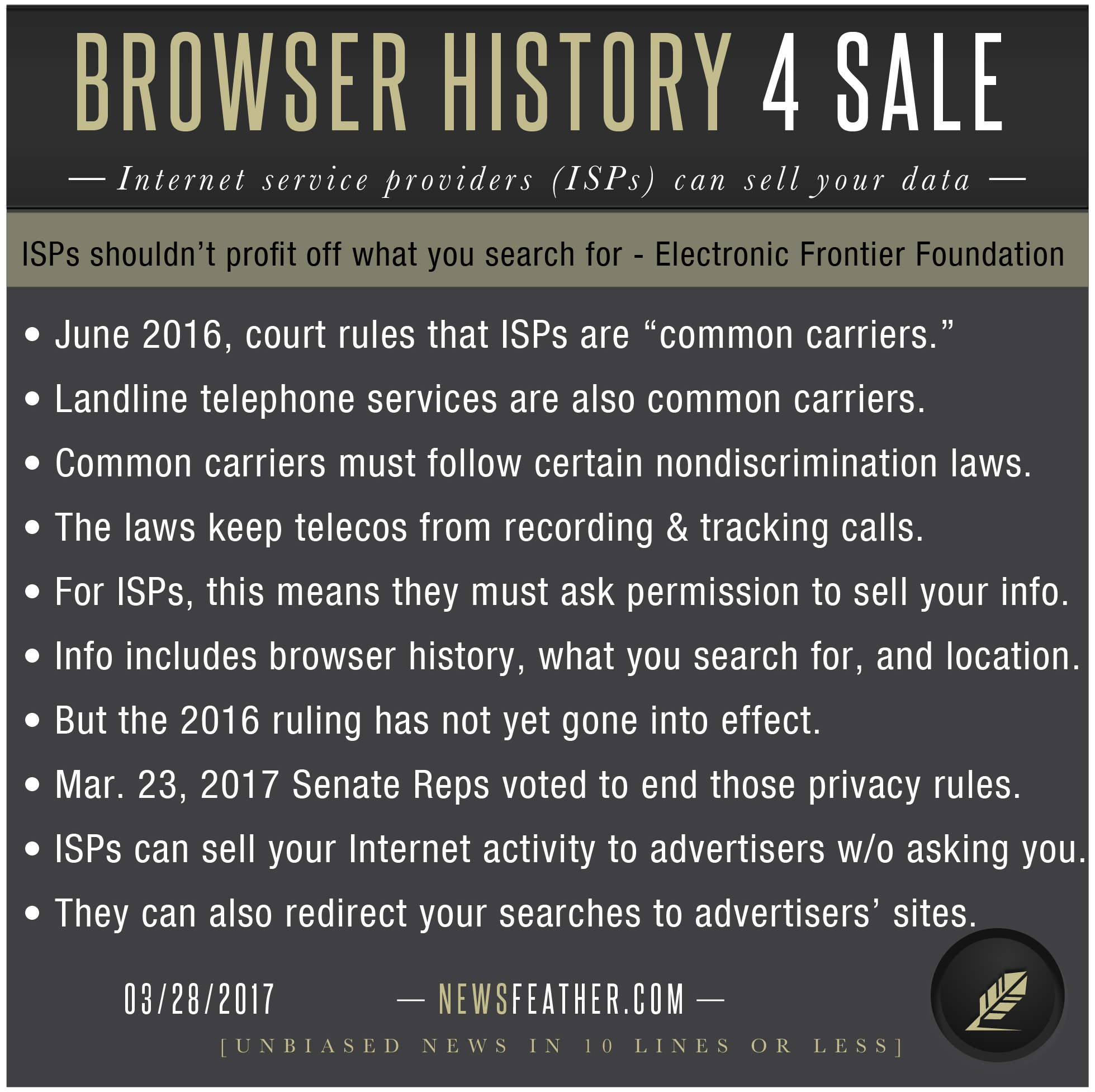 Senate Republicans voted to let your internet provider sell your browser history to advertisers without asking your permission.